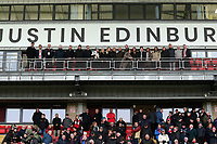Leyton Orient re-name the West Stand the 'Justin Edinburgh' stand with Edinburgh family (far right) and LOFC board members & directors and family frineds.Leyton Orient vs Newport County, Sky Bet EFL League 2 Football at The Breyer Group Stadium on 25th January 2020