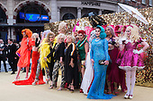 London, UK. 29 June 2016. Joanna Lumley and Jennifer Saunders with drag queens. World premiere of Absolutely Fabulous - the Movie in London's Leicester Square.