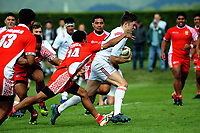 Fergus Burke heads for the tryline during the international rugby match between  New Zealand Schools Barbarians and Tonga Schools at the Sport and Rugby Institute in Palmerston North, New Zealand on Thursday, 28 September 2017. Photo: Dave Lintott / lintottphoto.co.nz