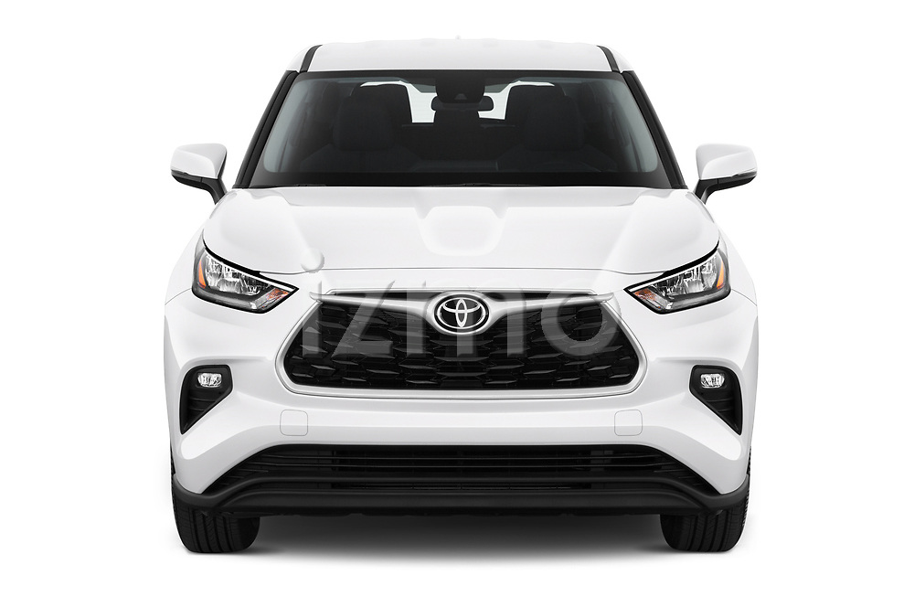 Car photography straight front view of a 2020 Toyota Highlander LE 5 Door SUV