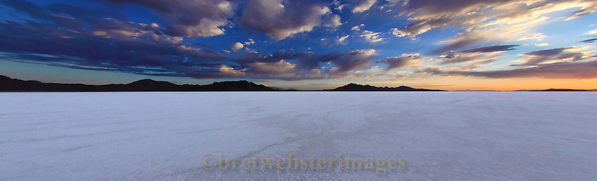 The sun rises on the vast expanse of salt at the Bonneville Salt Flats in Utah.