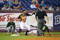 Wilmington Blue Rocks third baseman Wander Franco (11) waits for a throw as Yu-Cheng Chang (6) slides into third base with umpire Chris Marco looking on to make the call during a game against the Lynchburg Hillcats on June 3, 2016 at Judy Johnson Field at Daniel S. Frawley Stadium in Wilmington, Delaware.  Lynchburg defeated Wilmington 16-11 in ten innings.  (Mike Janes/Four Seam Images)