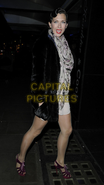 "MARGOT STILLEY.The ""Burlesque Undressed"" gala screening, Curzon Soho Cinema, London, England..January 20th, 2010.full length black fur jacket white dress pink purple shoes grey gray pattern scarf .CAP/CAN.©Can Nguyen/Capital Pictures."