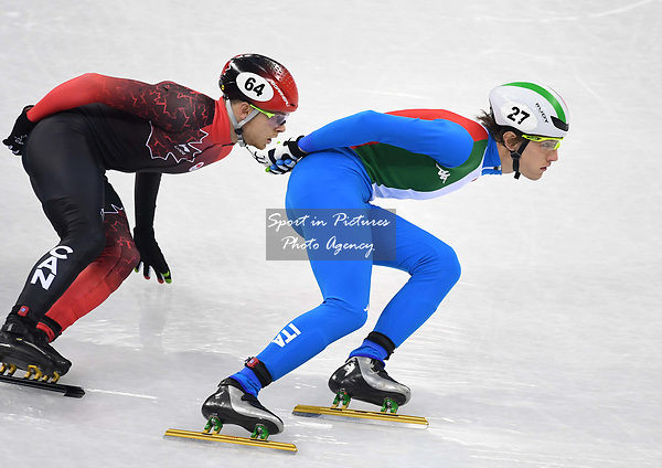 Tommaso Dotti (ITA, 27) and Pascal Dion (CAN). Short track. Gangneung ice arena. Pyeongchang2018 winter Olympics. Gangneung. Republic of Korea. 10/02/2018. ~ MANDATORY CREDIT Garry Bowden/SIPPA - NO UNAUTHORISED USE - +44 7837 394578
