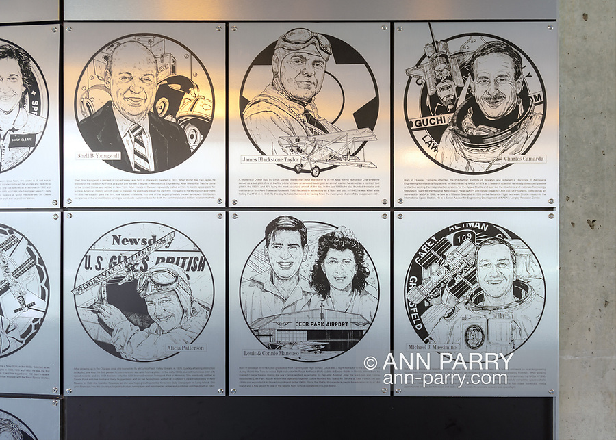 Garden City, New York, USA. June 21, 2018. Three metal plaques honoring the Long Island Air & Space Hall of Fame Class of 2018 have illustrations of the inductees - bottom row, left to right - ALICIA PATTERSON, aviator and Newsday founder; LOUIS MANCUSO and CAROL MANCUSO, aviation pioneers; and MIKE MASSIMINO, NASA space shuttle astronaut. The induction ceremony was held that day at the Cradle of Aviation Museum.