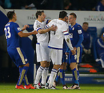 Diego Costa of Chelsea is held back from Jamie Vardy of Leicester City - English Premier League - Leicester City vs Chelsea - King Power Stadium - Leicester - England - 14th December 2015 - Picture Simon Bellis/Sportimage