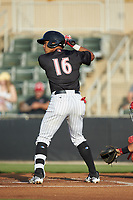 Luis Curbelo (16) of the Kannapolis Intimidators at bat against the Lakewood BlueClaws at Kannapolis Intimidators Stadium on July 7, 2018 in Kannapolis, North Carolina. The Intimidators defeated the BlueClaws 4-3 in 10 innings.  (Brian Westerholt/Four Seam Images)