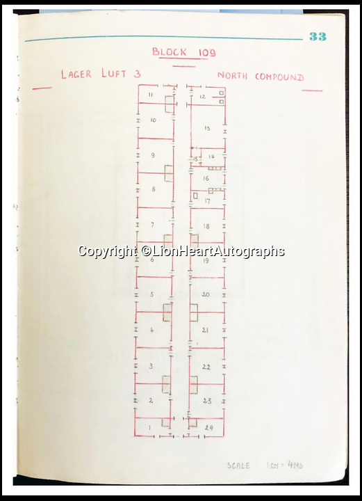 """BNPS.co.uk (01202 558833)<br /> Pic:   LionHeartAutographs/BNPS<br /> <br /> The diary contains pencil drawings of Gueuffen's Block 109's 24 rooms (drawn to scale) whose residents were instrumental in preparing for the """"Great Escape.<br /> <br /> A remarkable diary kept by a POW in the Great Escape camp which includes a tribute to the 50 men executed in its reprisals has come to light.<br /> <br /> British RAF officer Joseph Gueuffen, of 609 Squadron, was shot down during a bombing raid over Germany and held captive at Stalag Luft III from late 1943 until the end of the war.<br /> <br /> The Belgian born pilot was kept in Block 109, a barrack which played an integral part in the mass escape of prisoners on March 24, 1944.<br /> <br /> The diary boasts a list of the officers executed by the Nazis following their recapture and a drawing of the permanent memorial for them by Belgian RAF pilot Bobby Laumans."""