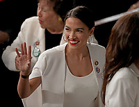 United States Representative Alexandria Ocasio-Cortez (Democrat of New York) on the floor following United States President Donald J. Trump's second annual State of the Union Address to a joint session of the US Congress in the US Capitol in Washington, DC on Tuesday, February 5, 2019.<br /> Credit: Alex Edelman / CNP/AdMedia
