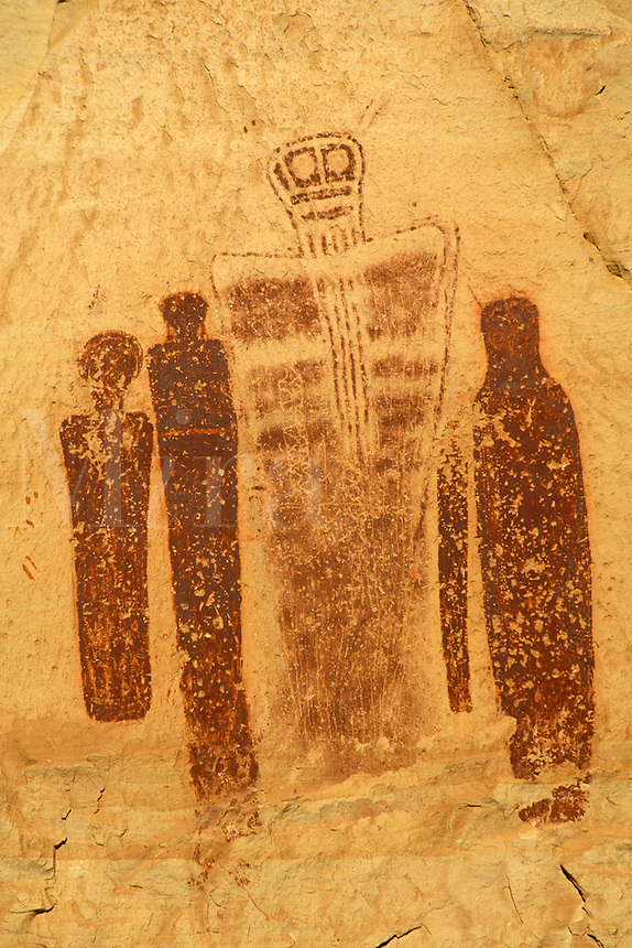 Holy Ghost and Companions pictographs on canyon wall, Horseshoe Canyon Unit, Maze District, Canyonlands National Park, Utah.