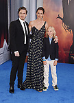 HOLLYWOOD, CA - MAY 25:  Actress Connie Nielsen (C), sons Sebastian Sartor and Bryce Thadeus Ulrich-Nielsen arrive at the premiere of Warner Bros. Pictures' 'Wonder Woman' at the Pantages Theatre on May 25, 2017 in Hollywood, California.