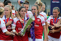 Arsenal Women with the FA Women's Super League Trophy  during Arsenal Women vs Manchester City Women, FA Women's Super League Football at Meadow Park on 11th May 2019