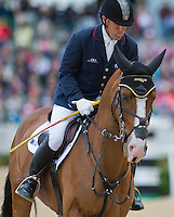 MAR DE AMOR, ridden by Bruce (Buck) Davidson Jr. (USA), competes during Stadium Jumping at the Rolex 3-Day Event at the Kentucky Horse Park in Lexington, Kentucky on April 28, 2013.