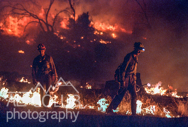 August 19, 1996 Sonora, California  -- Rogge Fire – Hours after midnight, Stanislaus National Forest firefighters Shawn Baker and Larry Turman from Engine E-42 fire a line on the top of Jawbone Ridge above the Clavey River in an attempt to burn out an area that blew up the previous afternoon. In 1996, the Ackerson and Rogge Fires combined to char 60,000 acres. The Rogge Fire was centered on the north side of the Tuolumne River, burning over Jawbone Ridge and Cherry Creek areas.