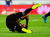 Roy Krishna goes down after being fouled during the A-League football match between Wellington Phoenix and Melbourne Victory at Westpac Stadium in Wellington, New Zealand on Friday, 10 January 2018. Photo: Dave Lintott / lintottphoto.co.nz
