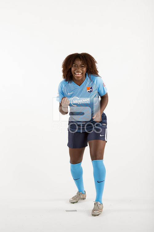Belmar, NJ - Wednesday March 29, 2017: Mandy Freeman poses for photos at the Sky Blue FC team photo day.