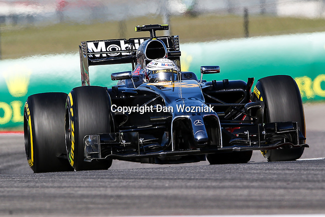 KEVIN MAGNUSSEN (20) driver of the McLaren Mercedes car in action during the last practice before the Formula 1 United States Grand Prix race at the Circuit of the Americas race track in Austin,Texas.