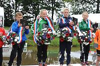 FIERLJEPPEN: GRIJPSKERK: 05-09-2015, NK Fierljeppen voor jeugd, winnaars v.l.n.r. Roy Velis - Benschop (jongens tot 10 jaar), Suzanne Mulder - Vlist (meisjes tot 10 jaar), Rutger Haanstra - It Heidenskip (jongens 11-12 jaar), Pytrix Westra - Bergum (meisjes 11-12 jaar), ©foto Martin de Jong