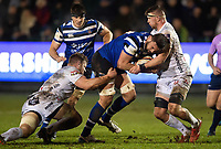 Elliott Stooke of Bath Rugby takes on the Gloucester Rugby defence. Premiership Rugby Cup match, between Bath Rugby and Gloucester Rugby on February 3, 2019 at the Recreation Ground in Bath, England. Photo by: Patrick Khachfe / Onside Images