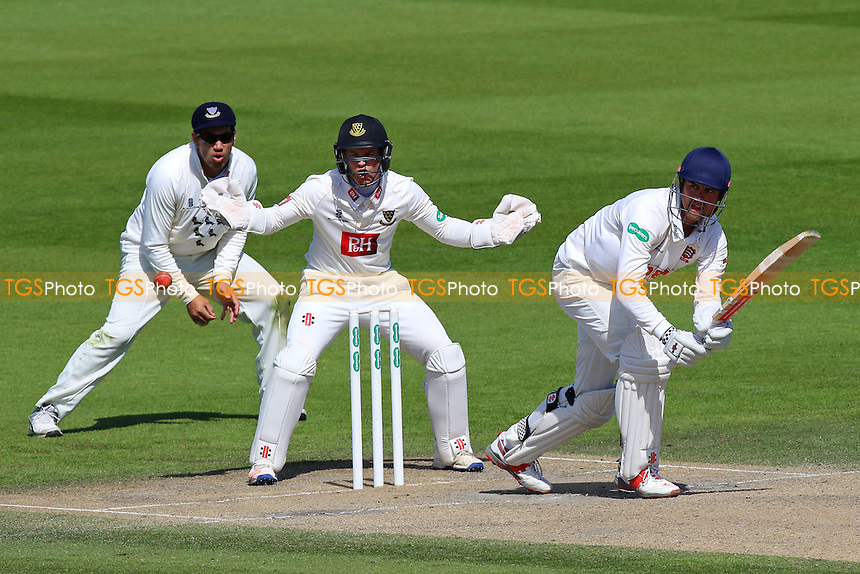 Alastair Cook in batting action for Essex as Ben Brown looks on from behind the stumps during Sussex CCC vs Essex CCC, Specsavers County Championship Division 2 Cricket at The 1st Central County Ground on 20th April 2016