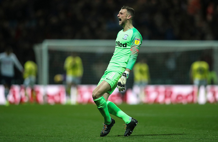 Preston North End's Declan Rudd celebrates scoring his sides second goal<br /> <br /> Photographer Rachel Holborn/CameraSport<br /> <br /> The EFL Sky Bet Championship - Preston North End v Blackburn Rovers - Saturday 24th November 2018 - Deepdale Stadium - Preston<br /> <br /> World Copyright © 2018 CameraSport. All rights reserved. 43 Linden Ave. Countesthorpe. Leicester. England. LE8 5PG - Tel: +44 (0) 116 277 4147 - admin@camerasport.com - www.camerasport.com