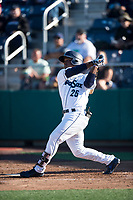 Everett AquaSox center fielder Josh Stowers (25) follows through on his swing during a Northwest League game against the Tri-City Dust Devils at Everett Memorial Stadium on September 3, 2018 in Everett, Washington. The Everett AquaSox defeated the Tri-City Dust Devils by a score of 8-3. (Zachary Lucy/Four Seam Images)