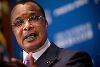 Slug: Kontinental /  NPC - Denis Sassou Nguesso<br /> Date: 08 - 01  - 2014<br /> Photographer: Mark Finkenstaedt<br /> Location: President Denis Sassou Nguesso at the National Press Club