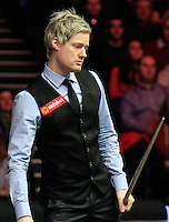 Neil Robertson ponders over his next shot during the Dafabet Masters Quarter Final 2 match between Judd Trump and Neil Robertson at Alexandra Palace, London, England on 15 January 2016. Photo by Liam Smith / PRiME Media Images.