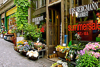 Florist Zurich colorful flowers typical alley way