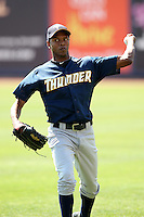 Trenton Thunder pitcher Wilkins Arias #15 before a game against the Akron Aeros at Canal Park on July 26, 2011 in Akron, Ohio.  Trenton defeated Akron 4-3.  (Mike Janes/Four Seam Images)