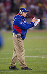 New York Giants Head Coach Tom Coughlin celebrates a touchdown during an NFC Championship NFL football game against the San Francisco 49ers on January 22, 2012 in San Francisco, California. The Giants won 20-17 in overtime. (AP Photo/David Stluka)