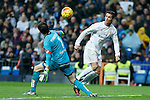 Real Madrid´s Cristiano Ronaldo and Deportivo de la Coruna´s goalkeeper Poroto Lux during 2015/16 La Liga match between Real Madrid and Deportivo de la Coruna at Santiago Bernabeu stadium in Madrid, Spain. January 09, 2015. (ALTERPHOTOS/Victor Blanco)