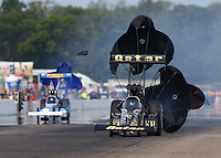 Aug. 18, 2013; Brainerd, MN, USA: NHRA top fuel dragster driver Khalid Albalooshi (right) defeats T.J. Zizzo during the Lucas Oil Nationals at Brainerd International Raceway. Mandatory Credit: Mark J. Rebilas-