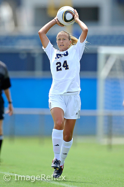 26 September 2010:  FIU's Cortney Bergin (24) returns the ball to play in the first half as the FIU Golden Panthers defeated the Arkansas State Red Wolves, 1-0 in double overtime, at University Park Stadium in Miami, Florida.