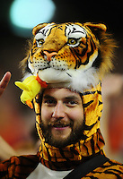 Jan 10, 2011; Glendale, AZ, USA; An Auburn Tigers fan in the crowd against the Oregon Ducks during the 2011 BCS National Championship game at University of Phoenix Stadium. The Tigers defeated the Ducks 22-19. Mandatory Credit: Mark J. Rebilas-