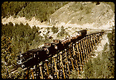 RGS #74 with RMRRC trip northbound on Bridge 45-A coming out of Ophir.<br /> RGS  Ophir, CO  Taken by Pfeiffer, Jack A. - 9/2/1951