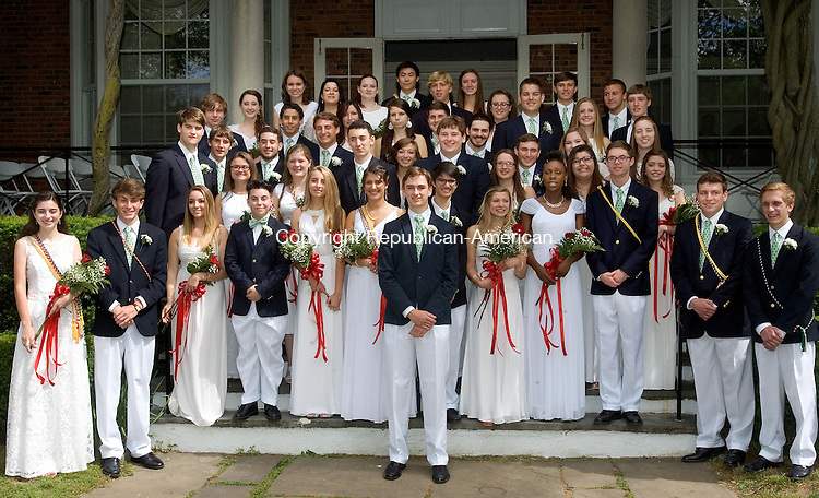 WATERBURY CT. 05 June 2015-060515SV03-Graduates line up on the stairs for parents and friends as a tradition during graduation at Chase Collegiate School in Waterbury Friday. <br /> Steven Valenti Republican-American