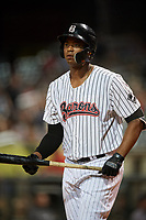 Birmingham Barons left fielder Eloy Jimenez (21) at bat during a game against the Pensacola Blue Wahoos on May 8, 2018 at Regions FIeld in Birmingham, Alabama.  Birmingham defeated Pensacola 5-2.  (Mike Janes/Four Seam Images)