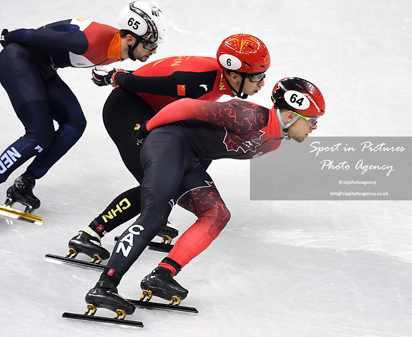 Pascal Dion (CAN, 64), Dajing Wu (CHN, 6) and Itzhakde Laat (NED). Short track. Gangneung ice arena. Pyeongchang2018 winter Olympics. Gangneung. Republic of Korea. 10/02/2018. ~ MANDATORY CREDIT Garry Bowden/SIPPA - NO UNAUTHORISED USE - +44 7837 394578