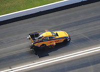 Apr. 28, 2012; Baytown, TX, USA: Aerial view of NHRA funny car driver Jeff Arend during qualifying for the Spring Nationals at Royal Purple Raceway. Mandatory Credit: Mark J. Rebilas-