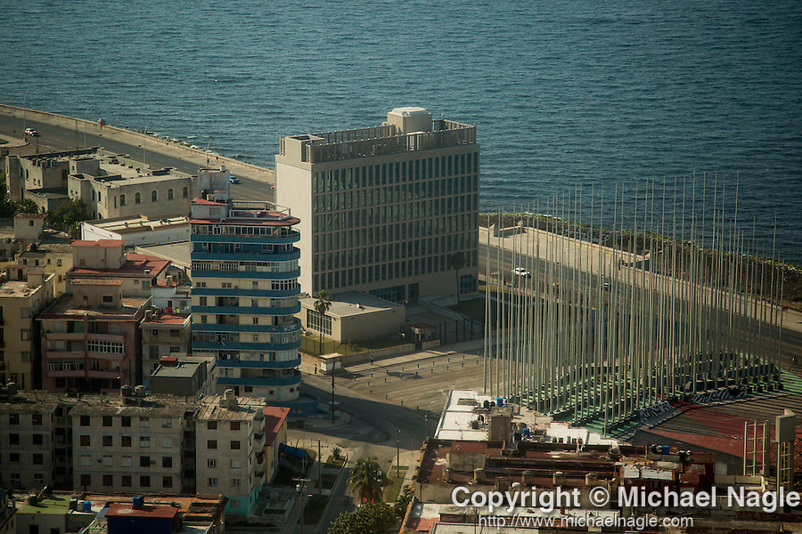 HAVANA, CUBA -- MARCH 23, 2015:  A view of the United States Embassy in Havana, Cuba on March 23, 2015. Photograph by Michael Nagle