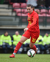 20190206 - TUBIZE , BELGIUM : Belgian Hannah Eurlings pictured during the friendly female soccer match between Women under 17 teams of  Belgium and The Netherlands , in Tubize , Belgium . Wednesday 6th February 2019 . PHOTO SPORTPIX.BE DIRK VUYLSTEKE