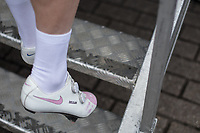 Mark Cavendish (GBR/Team Dimension Data) with personalized Nike Shoes.  On the right the pink shoe with his daughter's name 'Delilah' on it.<br /> <br /> 102nd Kampioenschap van Vlaanderen 2017 (UCI 1.1)<br /> Koolskamp - Koolskamp (192km)