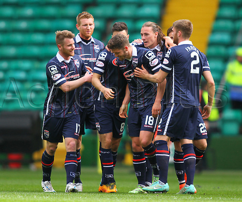 24.04.2016. Celtic Park, Glasgow, Scotland. Scottish Football Premiership Celtic versus Ross County. Stewart Murdoch celebrates his goal