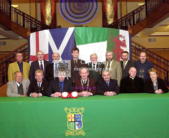 The Irish Amateur Boxing Association  has announced the Four Nations Boxing Championship for Killarney on April  18th and 19th 2002. All 12 National Champions from each country will participate in the competition which will be held in the INEC at The Gleneagle Hotel, Killarney. Our picture taken at the launch in Killarney On Thursday includes seated from left, Sean Crowley, National Secretary, Ireland, Tom Walker, Scotland Team Manager, Dan Lane, Rylane Boxing Club, Cllr. Michael Gleeson, Mayor of Killarney, Dominick O'Rourke, President, IABA, Canon John Finn and Jennifer Connery, INEC. At back are, John Barrett, Murt Buckley, Mick Ryan, England, Patrick O'Donoghue, INEC, Tommy Murphy, Michael Kelleher, John Crowley and Paddy Fitzmaurice.<br />Picture by Don MacMonagle<br />copyright pictures by Don MacMonagle<br />6 Port Rod, Killarney tel 064-32833