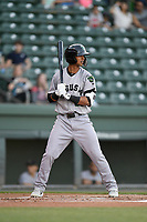 Designated hitter Jose Layer (22) of the Augusta GreenJackets bats in a game against the Greenville Drive on Wednesday, April 10, 2019, at Fluor Field at the West End in Greenville, South Carolina. Augusta won, 9-8. (Tom Priddy/Four Seam Images)
