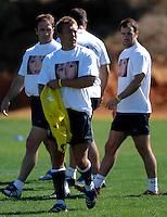 Photo: Richard Lane...England Rugby Training Camp, Portugal. 04/07/2007. ..England's Jonny Wilkinson wears a 'Find Madeleine' tie shirt in support of Madeleine McCann.