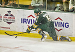 17 October 2015:  University of Vermont Catamount Defenseman Rob Hamilton, a Junior from Calgary, Alberta, in third period action against the University of Nebraska Omaha Mavericks at Gutterson Fieldhouse in Burlington, Vermont. The Catamounts fell to the Mavericks 3-1. Mandatory Credit: Ed Wolfstein Photo *** RAW (NEF) Image File Available ***