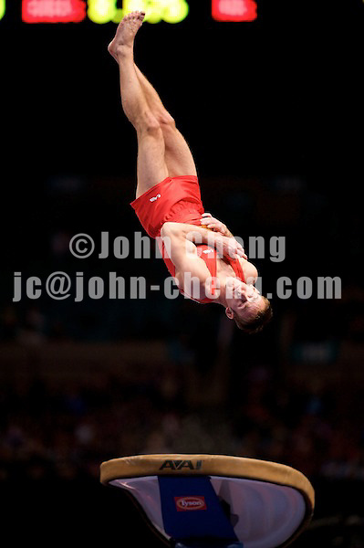 3/1/08 - Photo by John Cheng -  Flavius Koczi of Romania performs on vault at the Tyson American Cup in Madison Square GardenPhoto by John Cheng - Tyson American Cup 2008 in Madison Square Garden, New York.Bhavsar