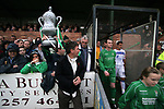 Burscough 3, Gillingham 2, 05/11/2005. Victoria Park, Burscough, FA Cup first round. The two teams coming out on to the pitch before the match. The home team (in green) from the Northern Premier League Premier Division defeated their Football League Championship rivals by 3-2 with two goals in the last minute, watched by a crowd of 1927 spectators. Photo by Colin McPherson.